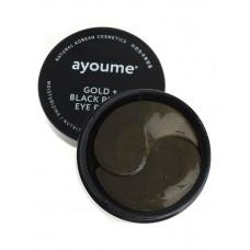 Патчи для глаз от темных кругов с золотом и черным жемчугом AYOUME GOLD+BLACK PEARL EYE PATCH 1,4гр, 60 шт