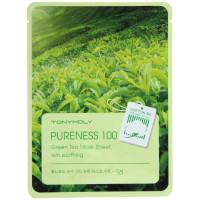 """Тканевая маска для лица на основе зеленого чая """"PURENESS 100 GREEN TEA MASK SHEET"""""""