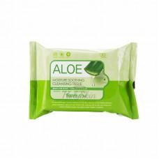 Очищающие увлажняющие салфетки с экстрактом алоэ, 30шт, FarmStay