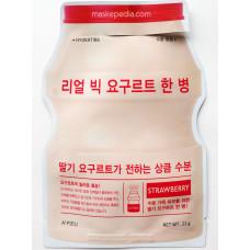 Йогуртная тканевая маска для лица A'PIEU Real Big Yogurt One BottleStrawberry