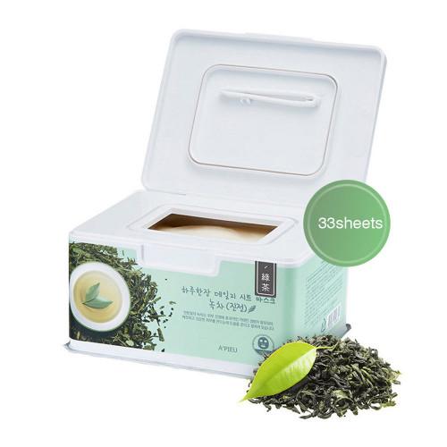 Набор масок для лица на основе зеленого чая A'PIEU Daily SHEET MASK GREEN TEA , 350 г. * 33 маски