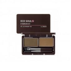 Пудра для бровей 01 The Saem Eco Soul Eyebrow Kit 01 Brown 2*2.5гр