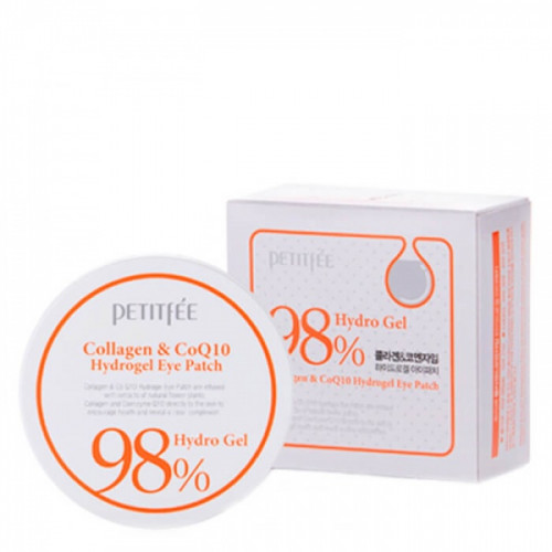 Гидрогелевые патчи под глаза с коэнзимом Q10 и 98% содержанием коллагена Petitfee 98% Collagen & CoQ10 Hydro Gel Eye Patch, 60 шт