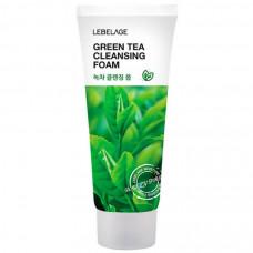Очищающая пенка для лица с экстрактом ЗЕЛЕНОГО ЧАЯ, LEBELAGE NATURAL CLEANSING FOAM GREEN TEA, 100мл